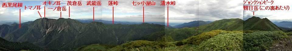 パノラマ(朝日岳~西黒尾根).jpg